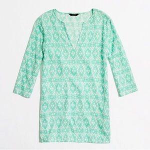 NWT J. Crew Green Printed Crinkle Tunic Dress